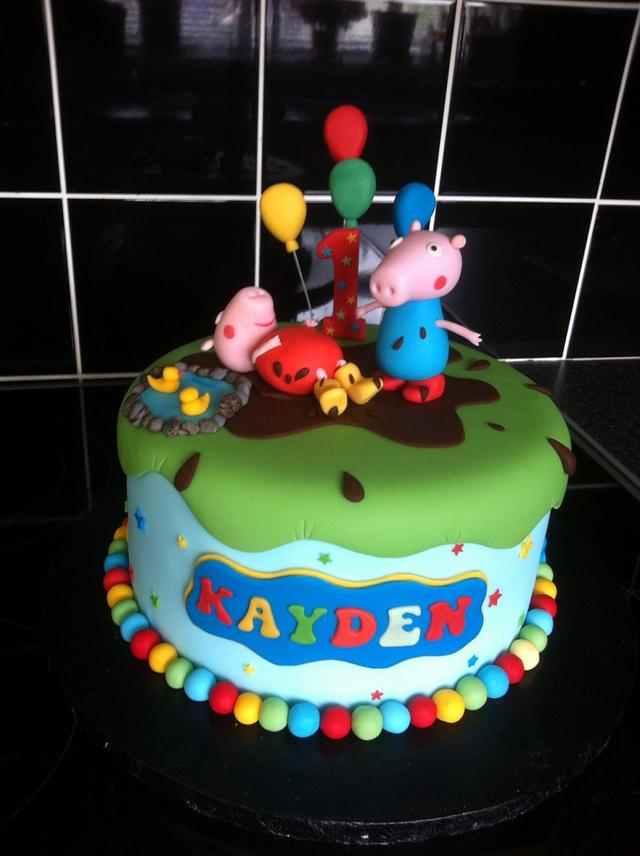 Stupendous Peppa Pig And George 1St Birthday Cake Cake By Berns Cakesdecor Funny Birthday Cards Online Overcheapnameinfo