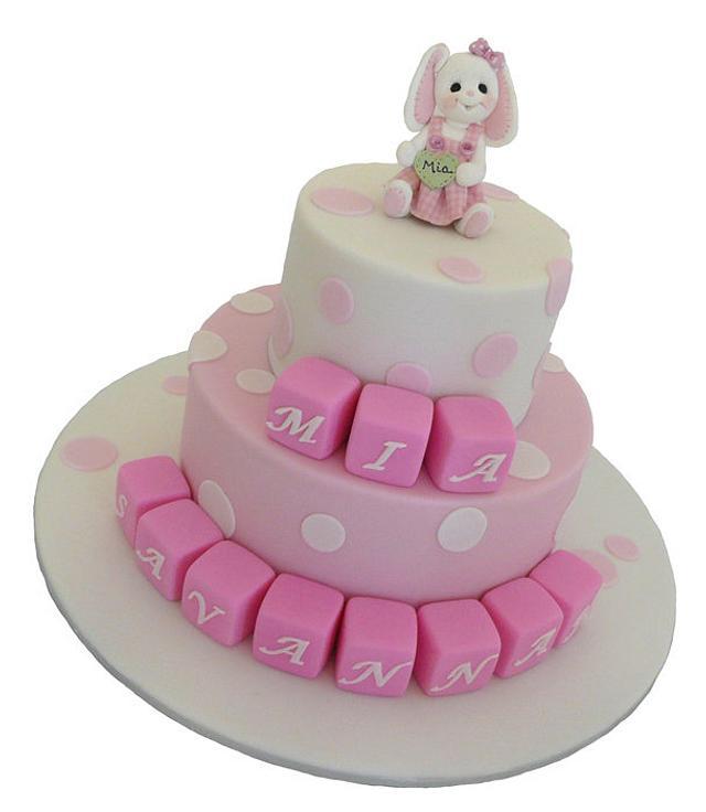 Rabbit Alphabet Block Cake