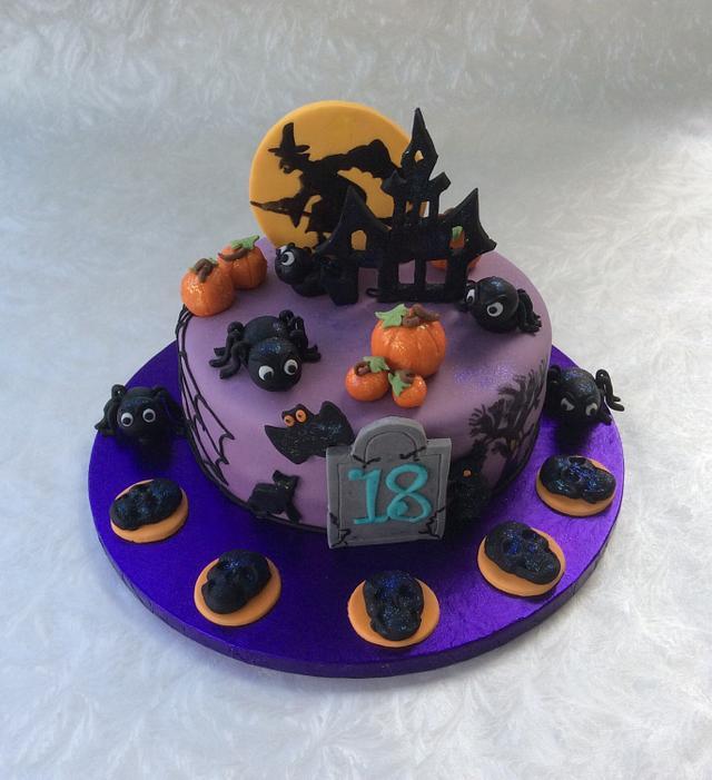 Halloween birthday cake and cupcakes