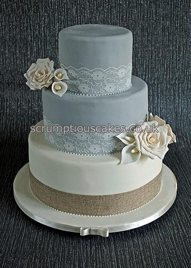 Cream & Grey Lace and Hessian Wedding Cake