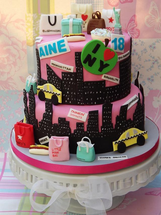 Peachy New York Themed 18Th Birthday Cake Cake By Cakes By Cakesdecor Funny Birthday Cards Online Elaedamsfinfo