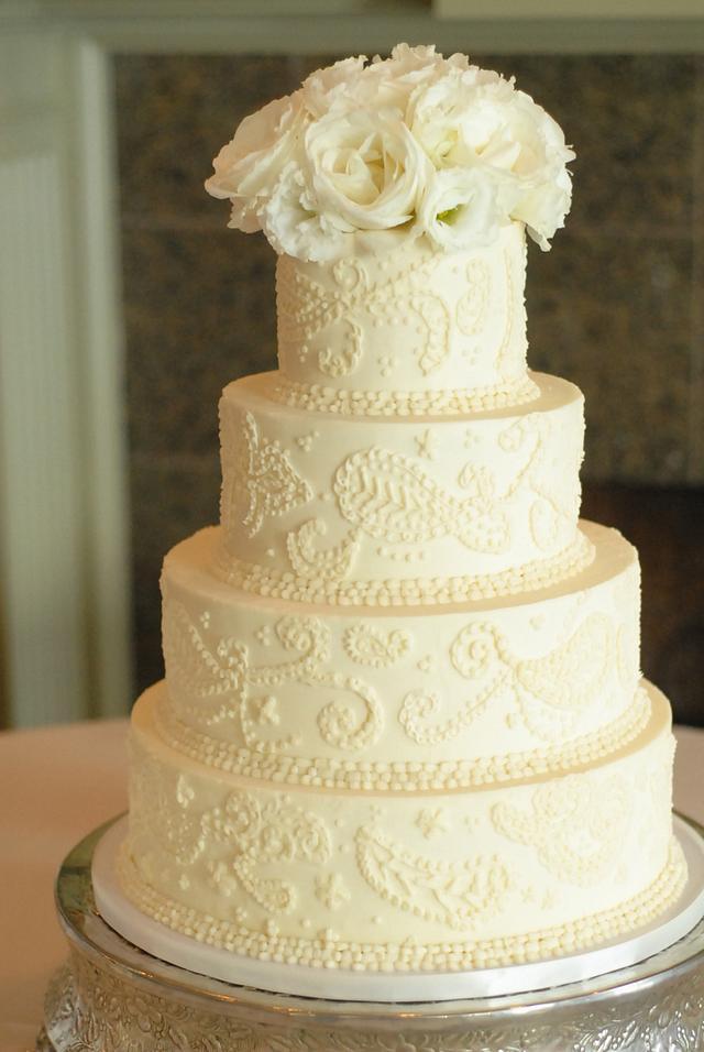 Buttercream Freehand Piping Wedding Cake