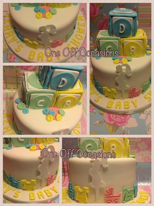 Prime Unisex Baby Shower Cake With Building Blocks Cakesdecor Funny Birthday Cards Online Elaedamsfinfo
