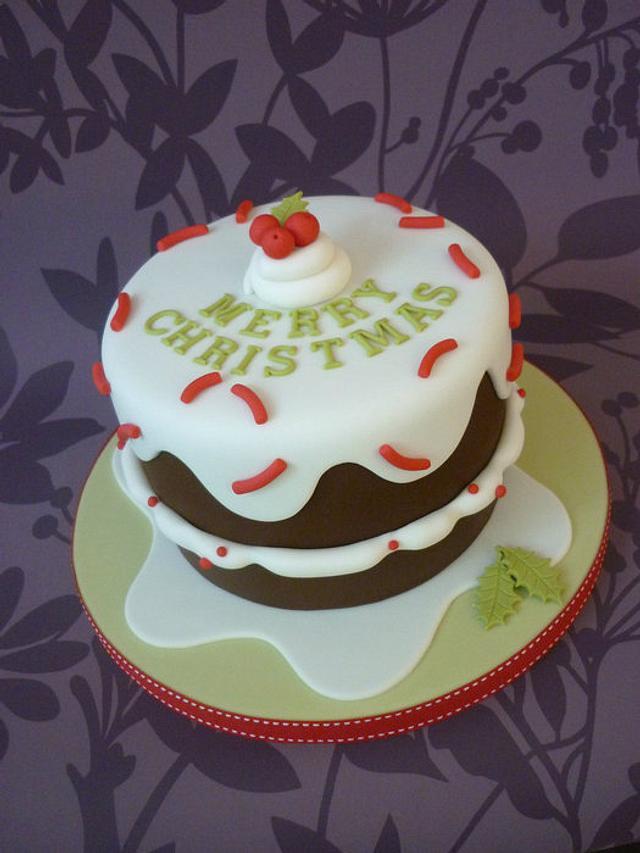 Drippy icing Christmas cake