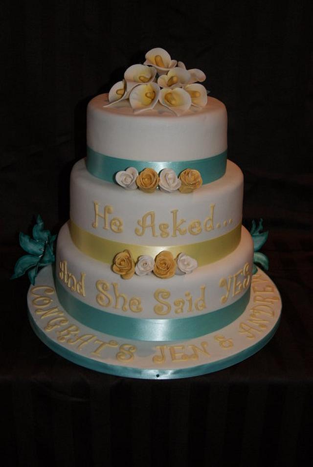 Inscription Engagement Cake