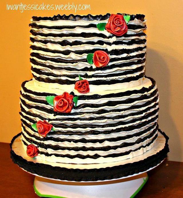 Black & White ruffles wedding cake