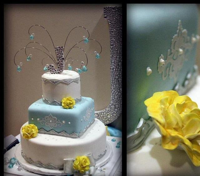 Timarla & David - white with Tiffany blue, silver, and yellow