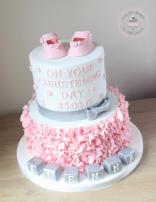 Baby shower ruffle cake