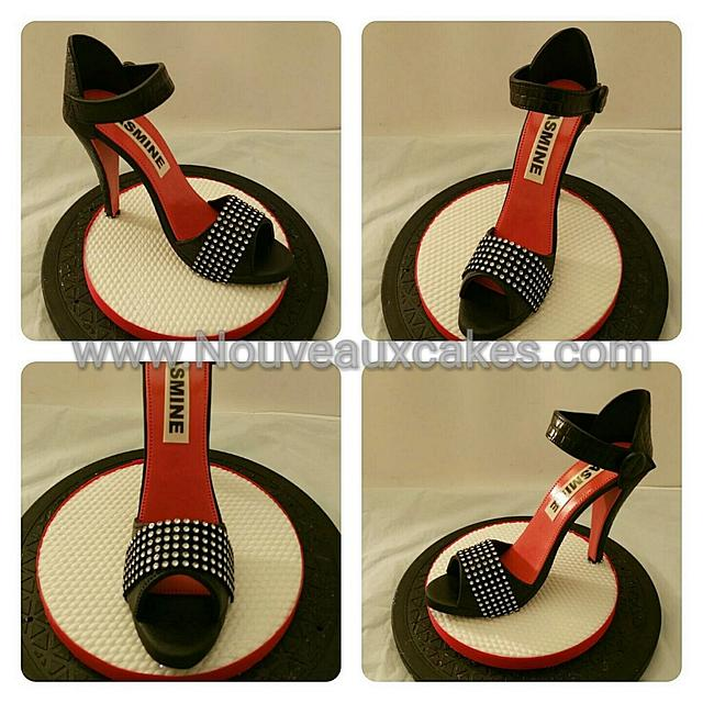 Black and Red Sandals Cake Topper