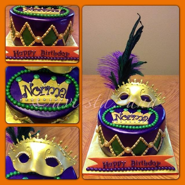 Surprising Mardi Gras Birthday Cake Cake By Alotofsugar Cakesdecor Funny Birthday Cards Online Alyptdamsfinfo