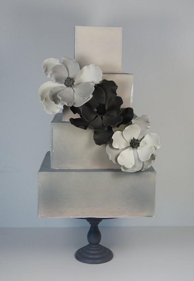 Grey magnolia cake
