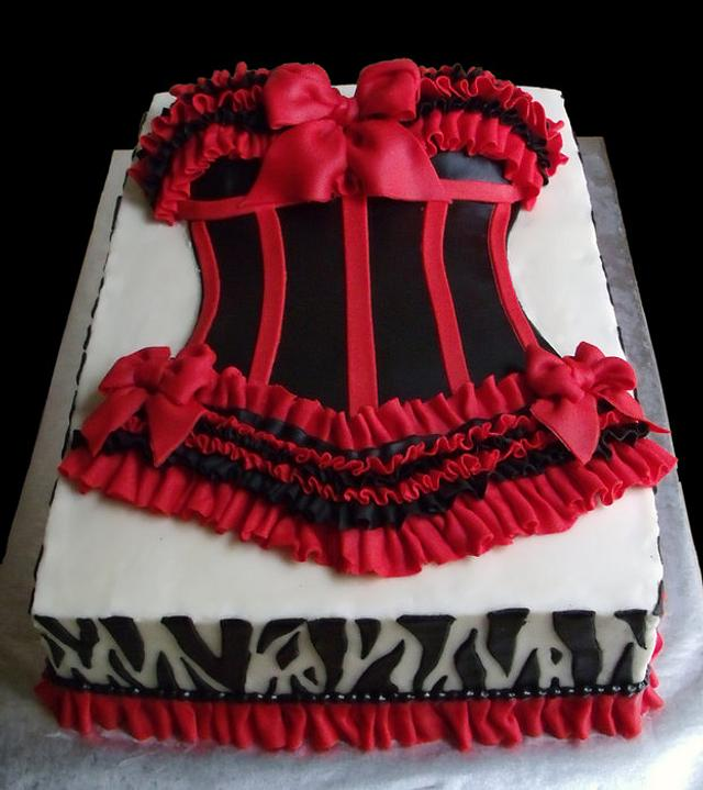 Sexy Red and Black Bustier Bridal Shower Cake