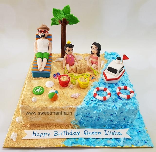 Miraculous Family On Beach Theme Customized Cake For Little Girls Cakesdecor Personalised Birthday Cards Veneteletsinfo