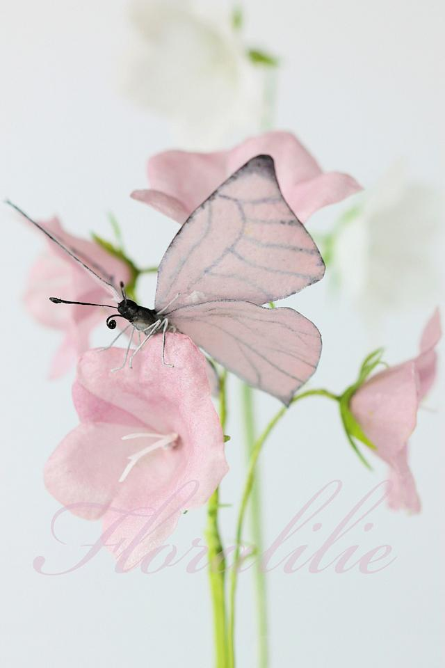 Wafer Paper Butterfly and Campanulas