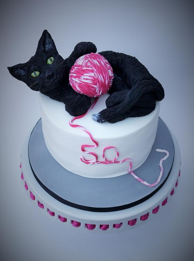 Enjoyable Black Cat 50Th Birthday Cake Cake By The Sugar Cloud Cakesdecor Funny Birthday Cards Online Fluifree Goldxyz