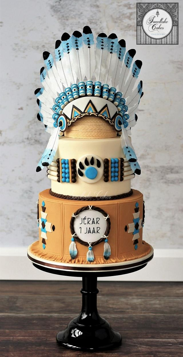 Native American cake with chiefs headdress