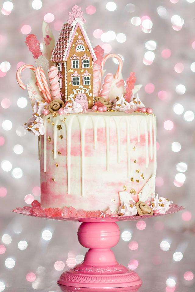Pink Gingerbread Drip Cake