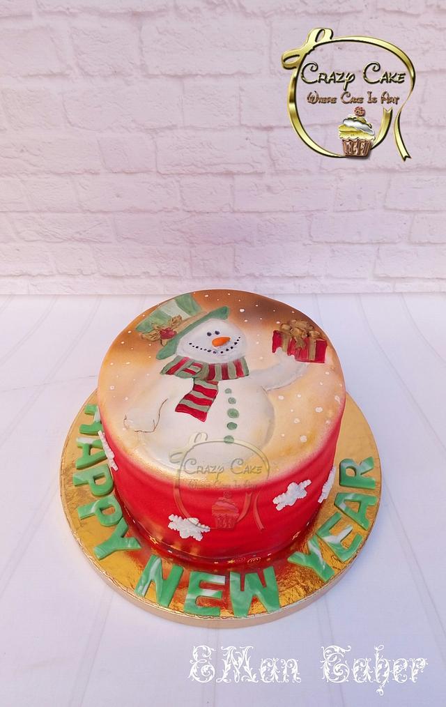Snow man Painted cake