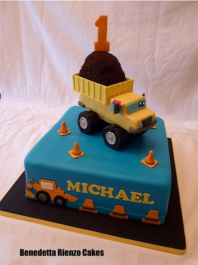Terrific Dump Truck First Birthday Cake By Benni Rienzo Radic Cakesdecor Funny Birthday Cards Online Elaedamsfinfo