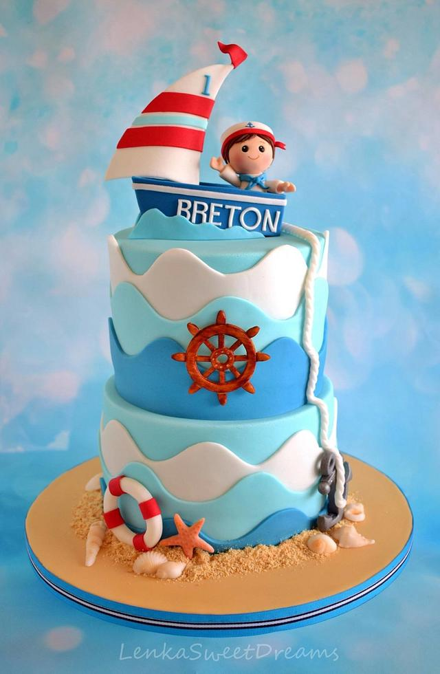A cake for a little sailor .