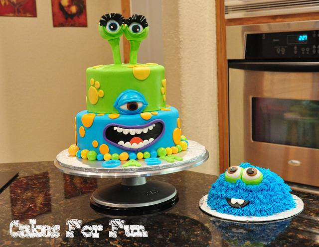 Astounding Monster Birthday Cake With Smash Cake Cake By Cakes For Cakesdecor Personalised Birthday Cards Arneslily Jamesorg