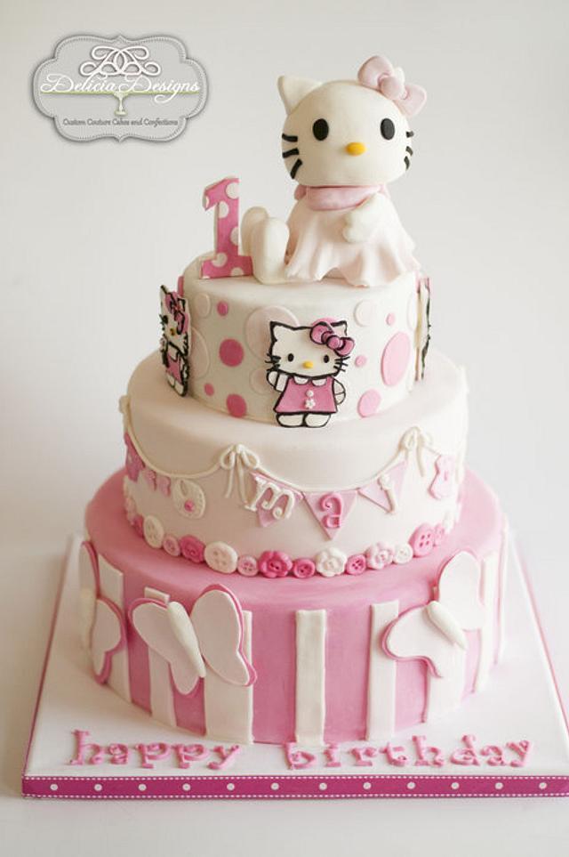 Marvelous Hello Kitty 1St Birthday Cake By Delicia Designs Cakesdecor Personalised Birthday Cards Veneteletsinfo
