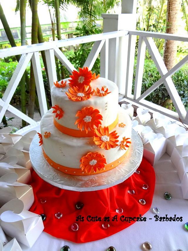 Orange Daisy Wedding  Cake