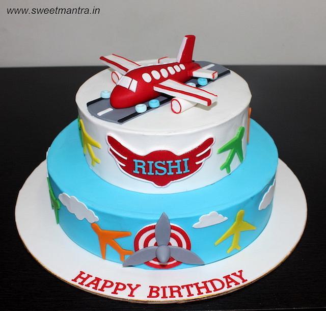 Cool Aeroplane Theme Customized 2 Layer Fondant Birthday Cake Cakesdecor Funny Birthday Cards Online Alyptdamsfinfo