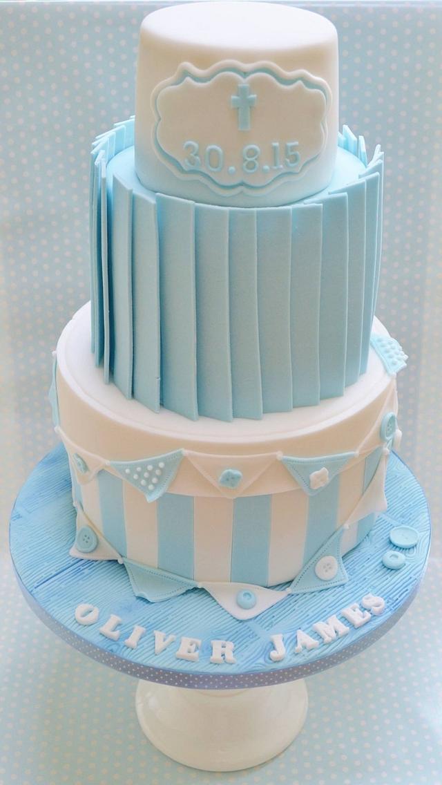 Baby boy christening cake
