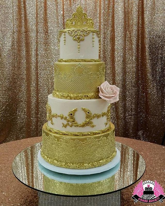 Gold and Blush Quinceanera Cake