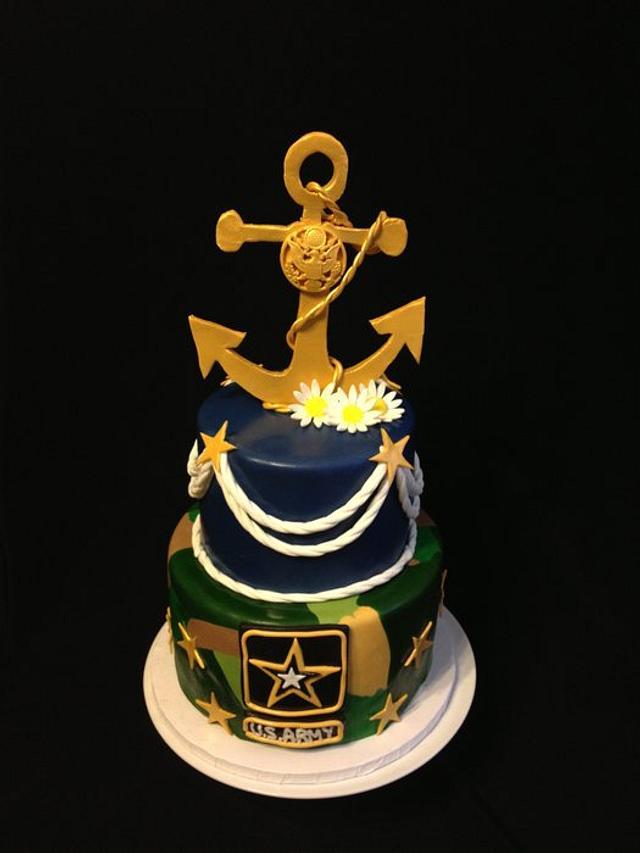 Pleasing Navy Army Birthday Cake Cake By Elizabeth Cakesdecor Funny Birthday Cards Online Alyptdamsfinfo
