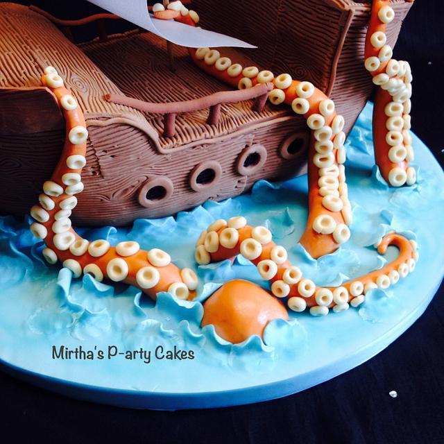 Pirate ship & sea monster cake