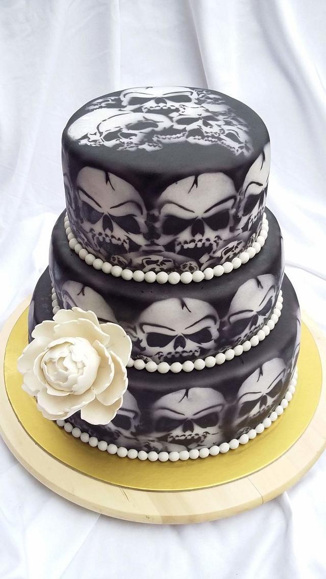 Wedding skull cake