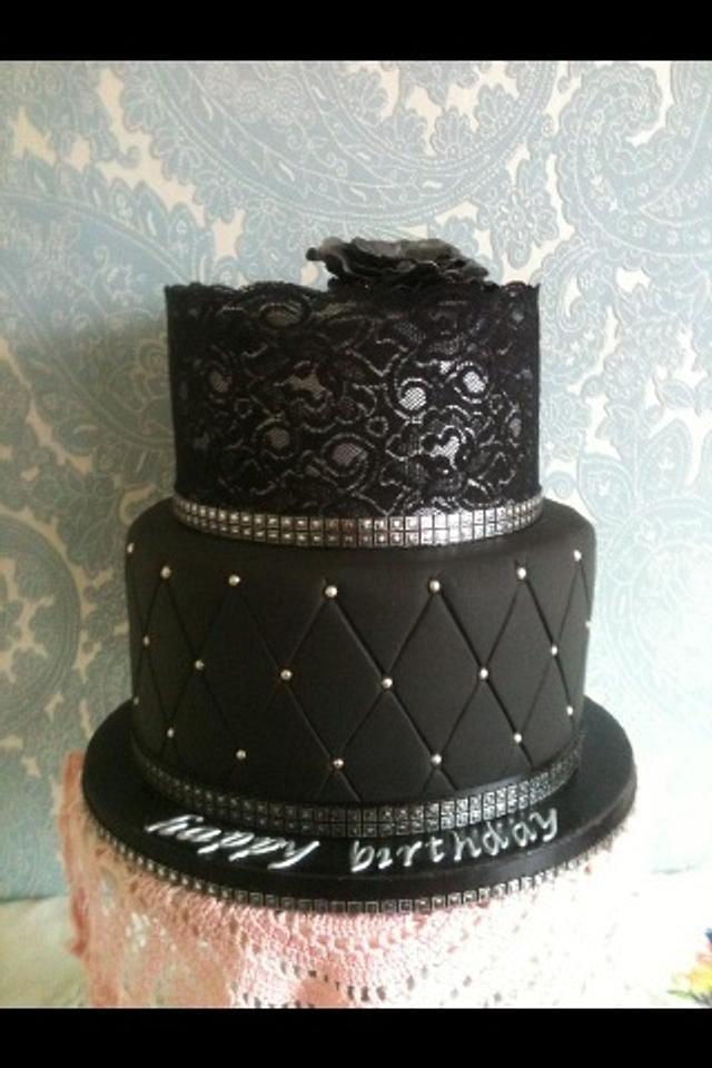 Silver & black lace