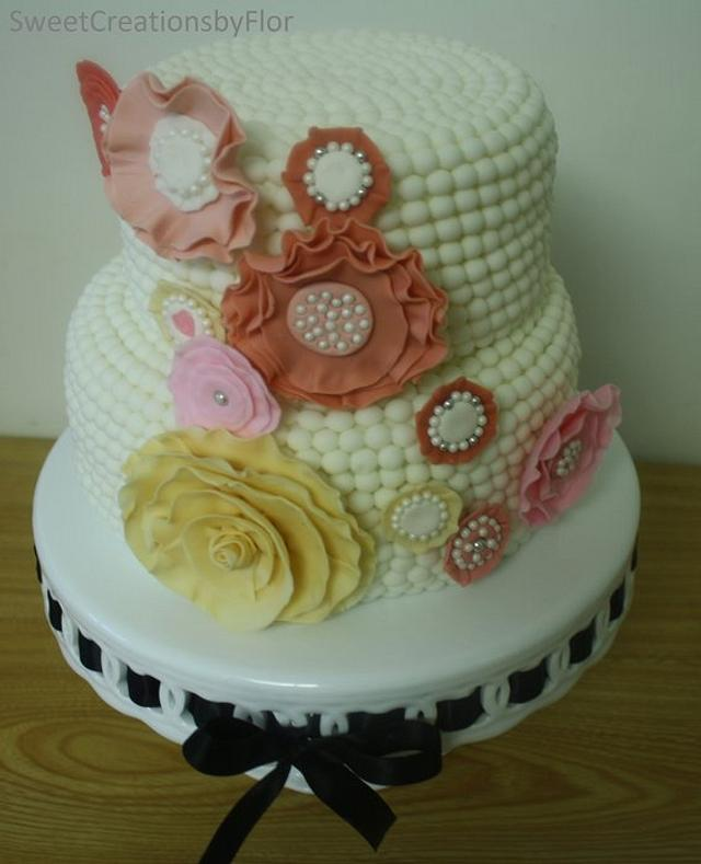 Pearls and Ruffles cake