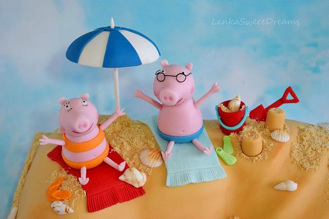 Peppa the Pig at the beach cake.