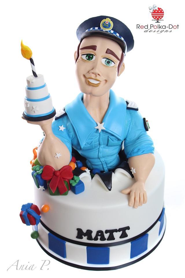 Peachy Policeman Its His Birthday Cake By Red Polka Dot Cakesdecor Funny Birthday Cards Online Hendilapandamsfinfo