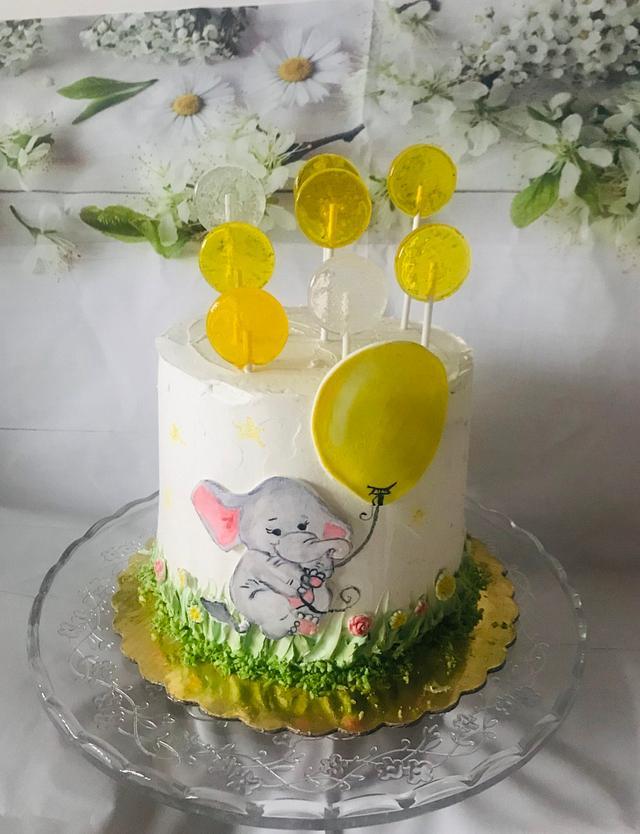 Hand painted baby cake