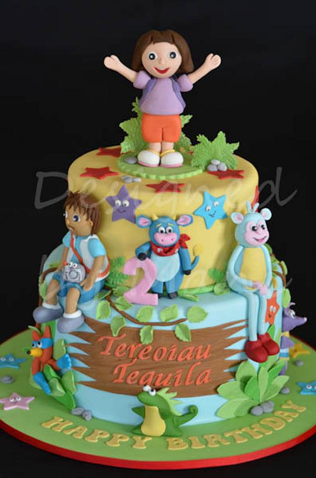 Remarkable Dora The Explorer Birthday Cake Cake By Designed By Cakesdecor Funny Birthday Cards Online Alyptdamsfinfo