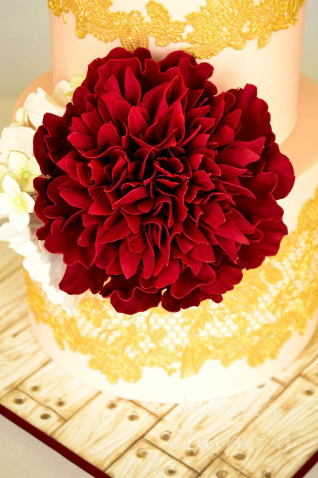 Vintage Peony Wedding Cake