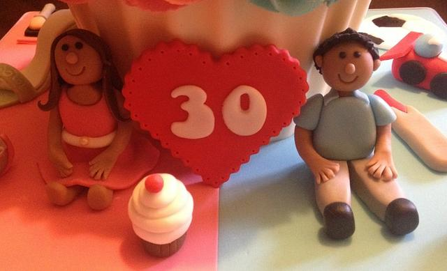 Hubby and Wife joint birthday Giant Cupcake