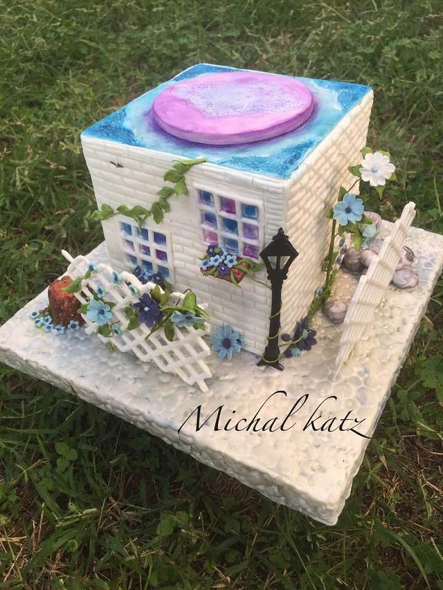 sweet house and forget me not flowers
