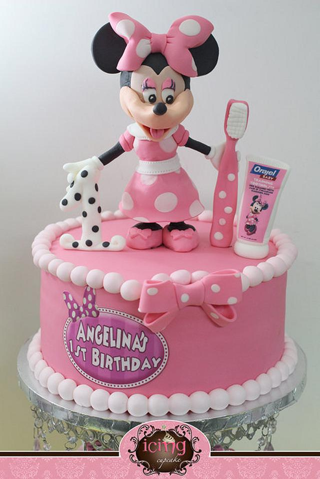 Magnificent Minnie Mouse 1St Birthday And Teething Cake And Cupcakes Cakesdecor Personalised Birthday Cards Veneteletsinfo