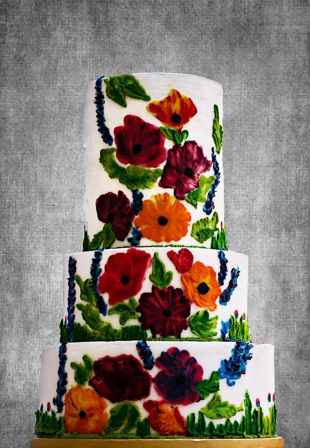 Palette knife Painted Wedding Cake