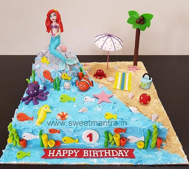 Marvelous Underwater Mermaid Theme Fresh Cream Cake With Princess Cakesdecor Funny Birthday Cards Online Drosicarndamsfinfo