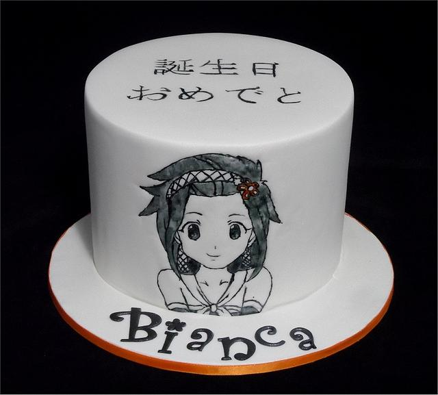 Hand painted Anime Japanese Cartoon Cake