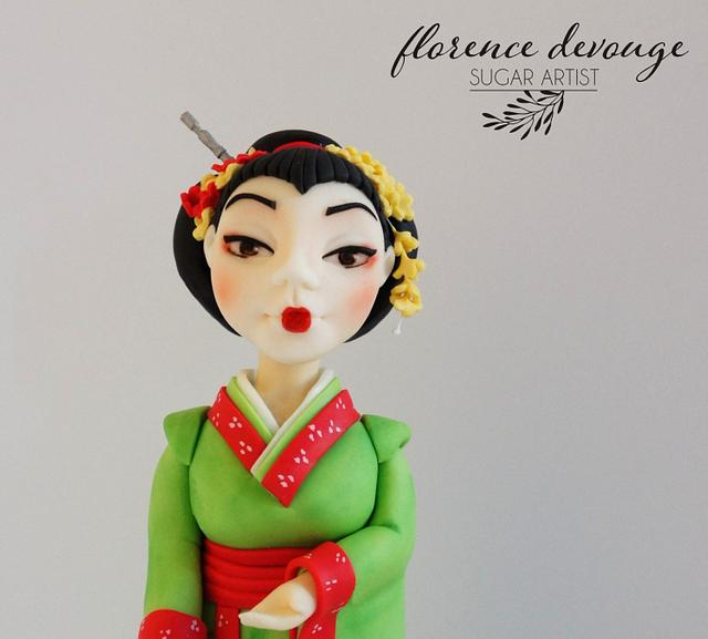 Geisha with real paper lamp