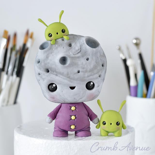 Moon and Aliens - Cake Topper