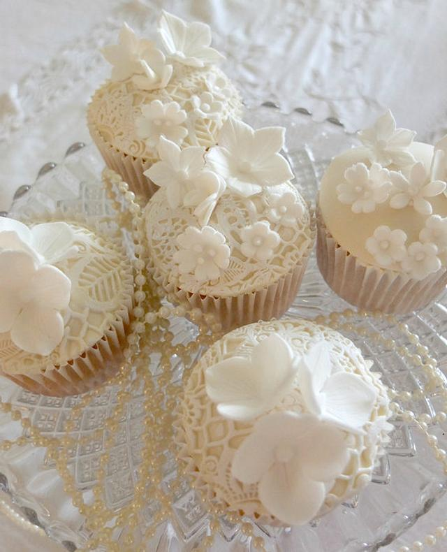 Ivory & white lace cupcakes