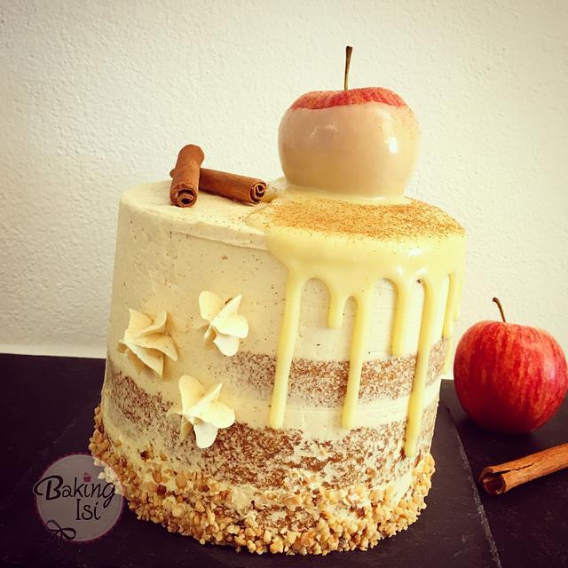 Apple cinnamon drip cake